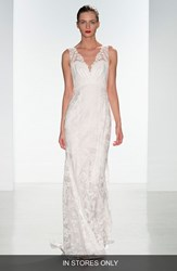 Women's Nouvelle Amsale 'Dana' Lace V Neck Peplum Gown In Stores Only
