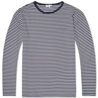 Sunspel Long Sleeve English Stripe Crew Neck Tee White And Navy