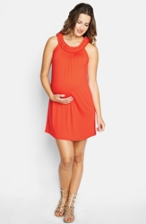 Maternal America Braided Neck Dress Red