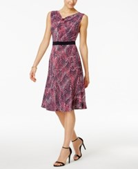 Jessica Howard Printed Cowl Neck A Line Dress Pink