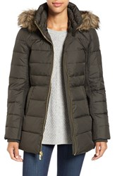 Michael Michael Kors Women's Hooded Down And Feather Fill Coat With Faux Fur Trim Olive