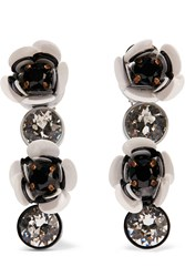 Shourouk Silver Tone Crystal And Sequin Clip Earrings Black