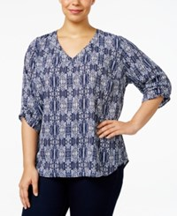 Ny Collection Plus Size Printed Blouse Navy Bolting