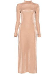 Michael Lo Sordo Open Back Stretch Jersey Dress Nude And Neutrals