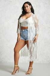 Forever 21 Plus Size Floral Lace Cardigan Cream