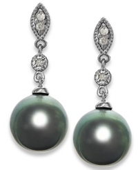 Macy's Tahitian Pearl 8Mm And Diamond Accent Earrings In 14K White Gold Gray