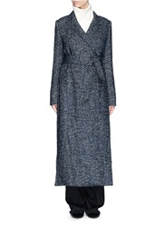 Ms Min Felted Tweed Long Coat Blue