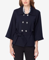 Tahari By Arthur S. Levine Asl Double Breasted Blazer Navy