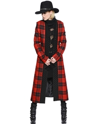 Philipp Plein Studded Plaid Wool Flannel Coat Red Black