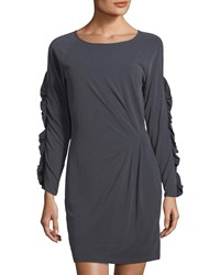 Collective Concepts Ruffled Long Sleeve Dress Charcoal