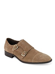 Saks Fifth Avenue Connery Suede Double Monk Strap Shoes Mushroom