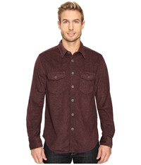 True Grit Sueded Tweed Long Sleeve Two Pocket Shirt Wine Men's Clothing Burgundy