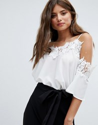 Jessica Wright Cold Shoulder Top White