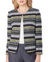 Tahari By Arthur S. Levine Striped Open Front Blazer