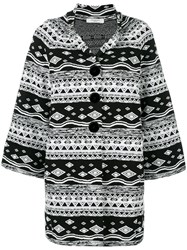 Charlott Patterned Oversized Coat White