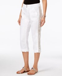 Inc International Concepts Petite Linen Embellished Cargo Pants Only At Macy's Bright White