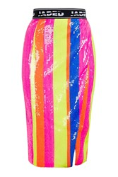 Jaded London Neon Sequin Stripe Midi Skirt By Multi
