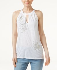 Inc International Concepts Embroidered Halter Top Only At Macy's Bright White