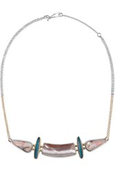 Melissa Joy Manning 14 Karat Gold And Sterling Silver Multi Stone Necklace Silver Blush