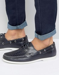 Silver Street Woven Boat Shoes Navy Navy Blue