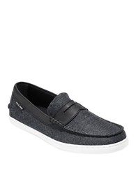 Cole Haan Grand. Os Canvas Apron Toe Loafers Black
