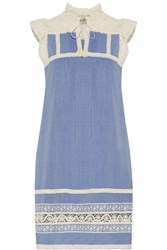 Sea Ruffled Lace Trimmed Cotton Chambray Dress Light Blue