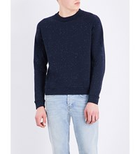Sandro Speckle Print Cotton Blend Sweatshirt Navy Blue