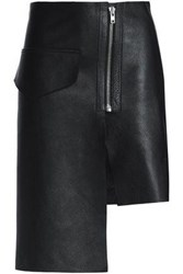 Oak Asymmetric Leather Skirt Black