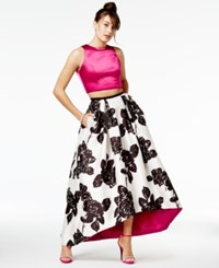 Teeze Me Juniors' 2 Pc. Printed High Low Gown Pink Black White