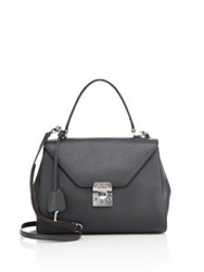 Mark Cross Hadley Small Leather Satchel Charcoal