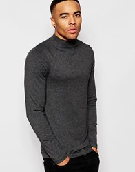 Asos Muscle Long Sleeve Top With Turtle Neck In Charcoal