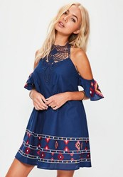 Missguided Blue Aztec Embroidered Crochet Top Swing Dress