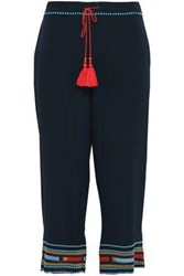 Talitha Cropped Embroidered Silk Crepe Straight Leg Pants Navy