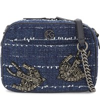 Kurt Geiger London Denim Blue Tweed Cross Body Bag