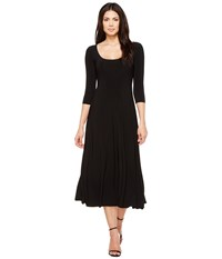 Norma Kamali Three Quarter Sleeve Reversible Scoop Neck Flaired Dress Black Women's Dress