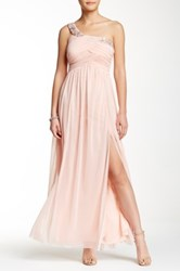 Trixxi One Shoulder Beaded Neck Mesh Prom Dress Juniors Pink