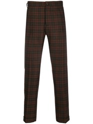 Berwich Checked Slim Fit Trousers Brown