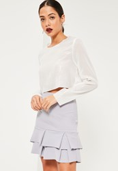Missguided Grey Double Frill Hem Stretch Crepe Mini Skirt