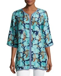 Le Sirenuse Split Neck 3 4 Sleeve Caftan Top Blue