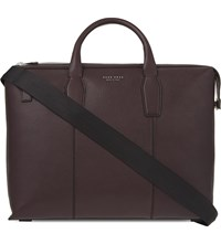 Hugo Boss Elite Grained Leather Briefcase Red