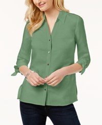 Jm Collection Tie Sleeve Shirt Created For Macy's Palm Green