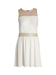 Morgan Sleeveless Short Dress With Knit Detail White