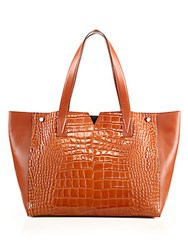 Vince Signature V Crocodile Embossed Leather And Smooth Leather Tote Whiskey