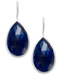 Paul And Pitu Naturally Faceted Stone Teardrop Earrings Silver
