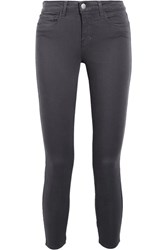 L'agence Margot Cropped High Rise Skinny Jeans Dark Gray