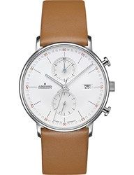 Junghans 041 4774.00 Form C Stainless Steel And Leather Chronograph Watch Brown