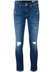 Rag And Bone Ripped Detailing Cropped Jeans Blue