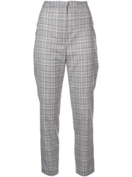 Milly Slim Checked Trousers Grey