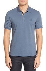 Men's Burberry Brit 'Oxford' Short Sleeve Polo Stone Blue