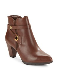 Anne Klein Chelsey Leather Ankle Boots Brown